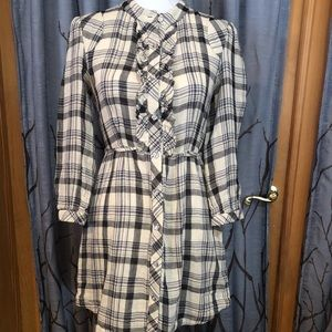Tulle S black cream plaid shirt dress
